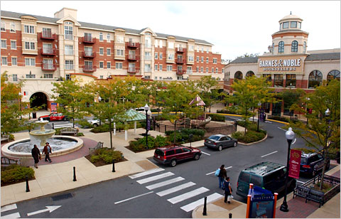 Residential and retail space co-exist at Market Common Clarendon, an urban village in Arlington, Va. via New York Times