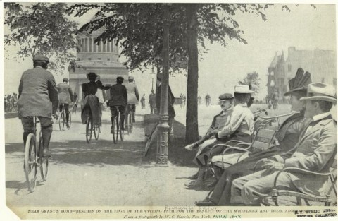 Near Grant' tomb - benches on the edge of the cycling path for the benefit of the wheelmen and their admirers.  (1898)
